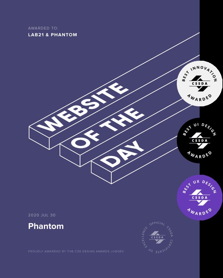 CSS Design Awards - Site of the day award for Phantom website