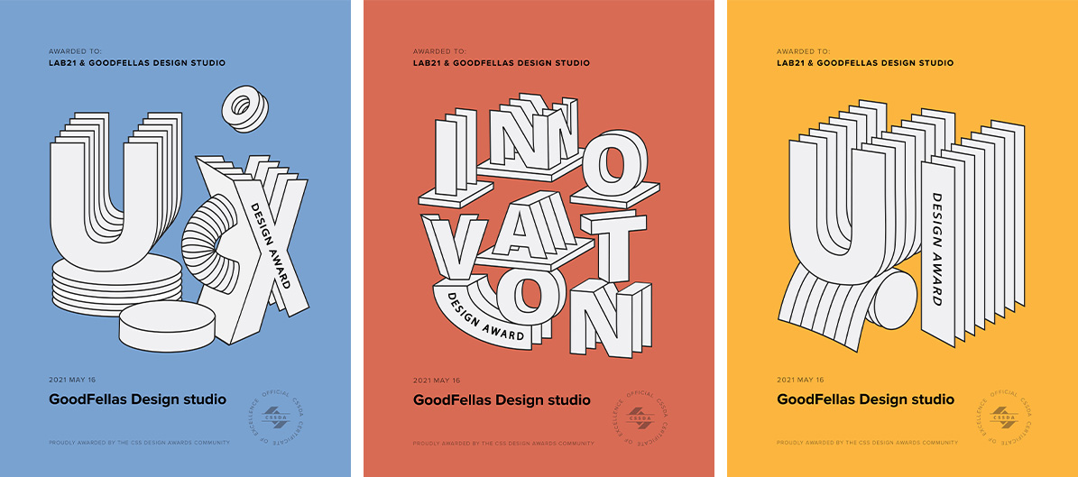 Best UX, Best Innovation and Best UI Awards by CSSDA to Lab21 for the GoodFellas website