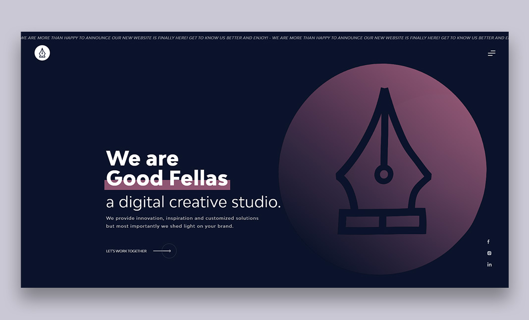 The GoodFellas website homepage, developed by Lab21