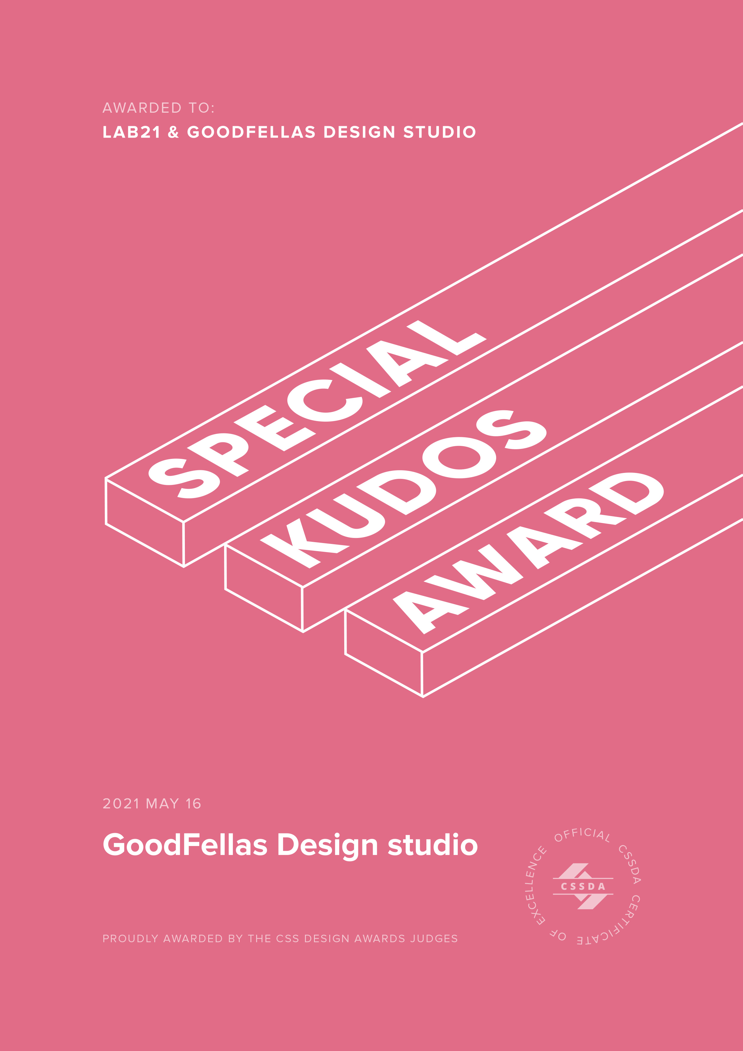 Special Kudos Award by CSS Design Awards  to Lab21 for the GoodFellas website